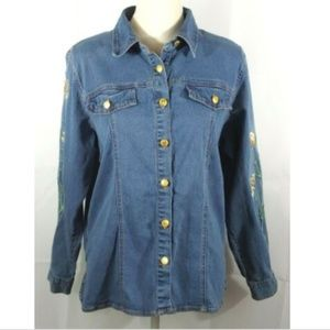 Bob Mackie Wearable Art Embroidered Denim Shirt L